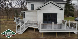 """Supreme Deck building division specializes in construction of wood, Trex, Timbertech and Fiberon composite decks. Supreme Deck is a top rated TrexPro Platinum installer. Click here for a deck building estimate from Supreme Deck Builders in Michigan. Supreme Deck is a licensed and insured Michigan deck builder. Deck replacement or """"re-deck"""" and is becoming a popular option with many Michigan home owners. It is a less expensive option than a complete build, because we can use the under-structure of your current deck. Cedar deck floors usually rot out first, thus requiring a new floor. Looking for a """"deck builder near me""""? We service most of South East Michigan."""